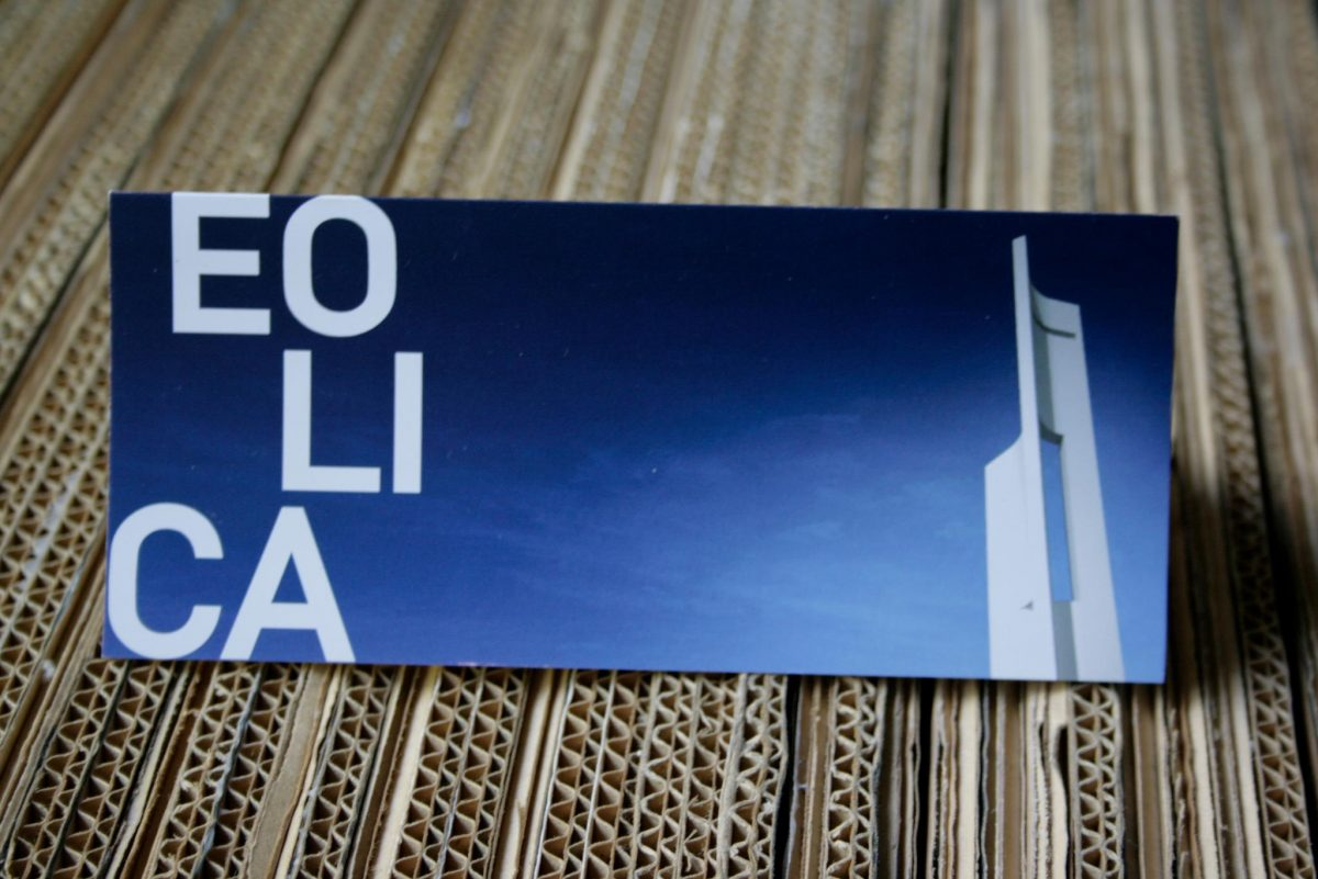 Díptico realizado para la exposición eólica. Impresión offset CMYK 4+4 en papel estucado mate 350gr