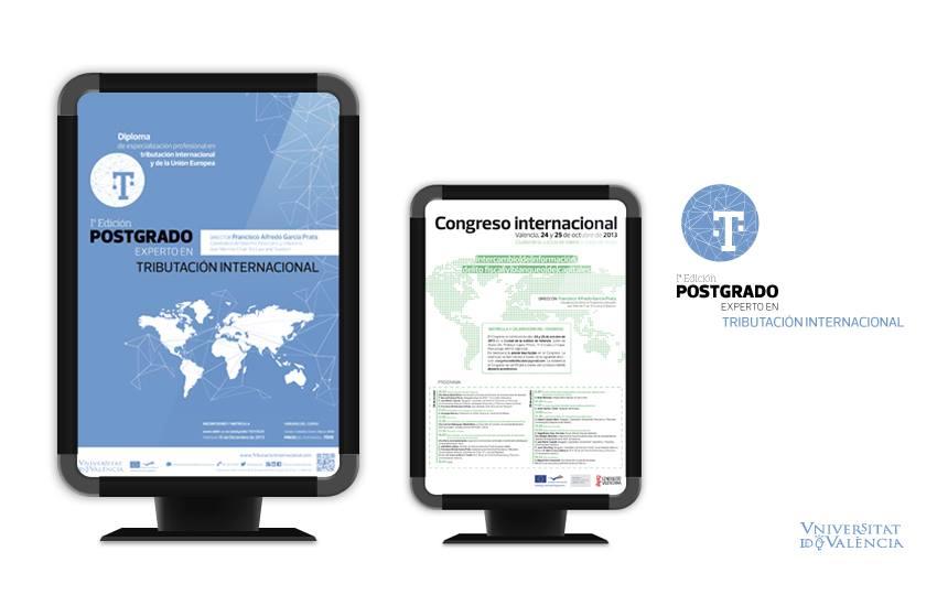 Carteles Postgrado experto en tributación internacional.