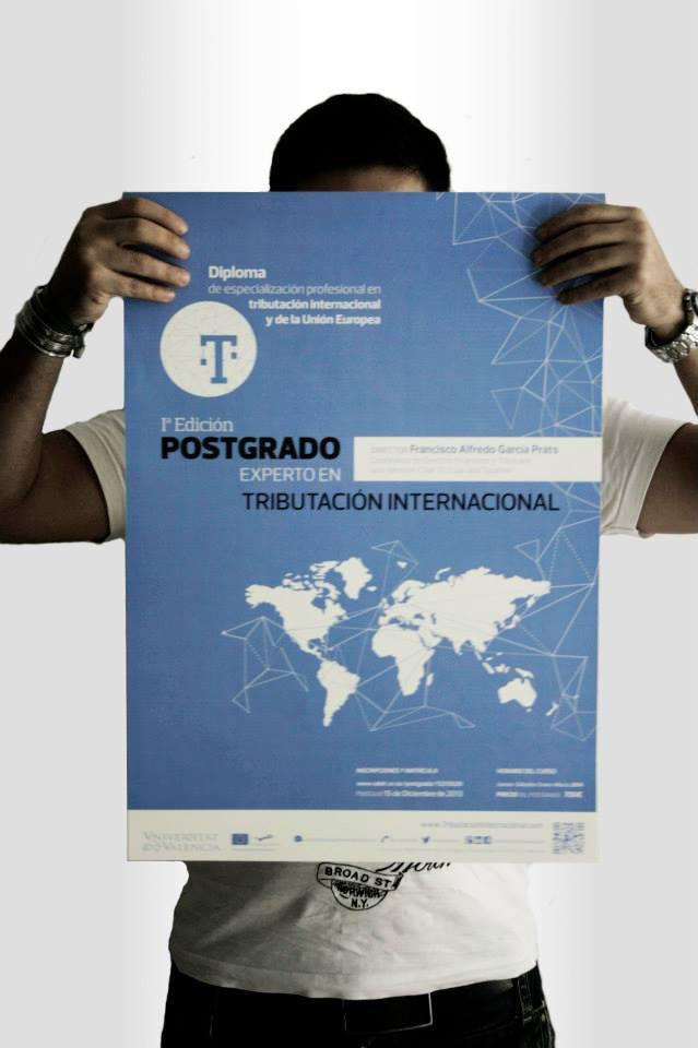 Diseño cartel publicitario Postgrado experto en tributación internacional.
