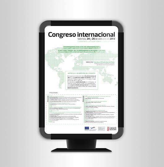 Cartel publicitario Postgrado experto en tributación internacional.