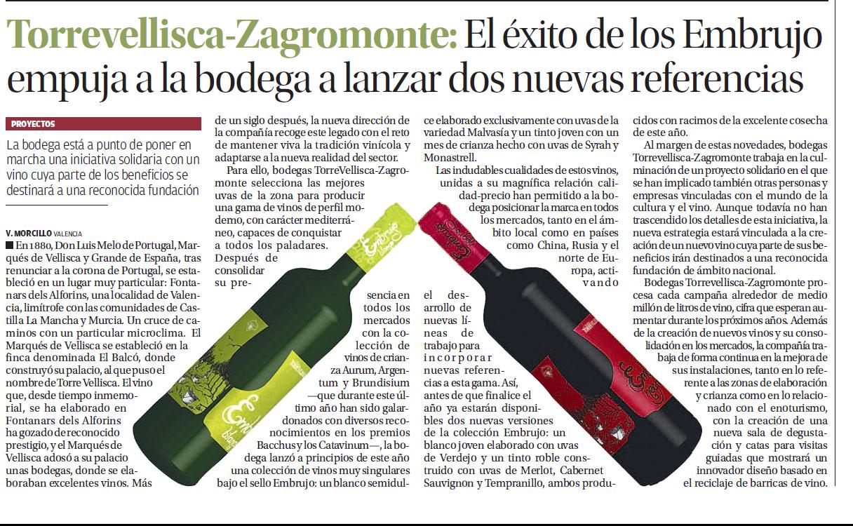 Artículo en el el periódico sobre la proyección internacional del vino que diseñamos para Torrevellisca