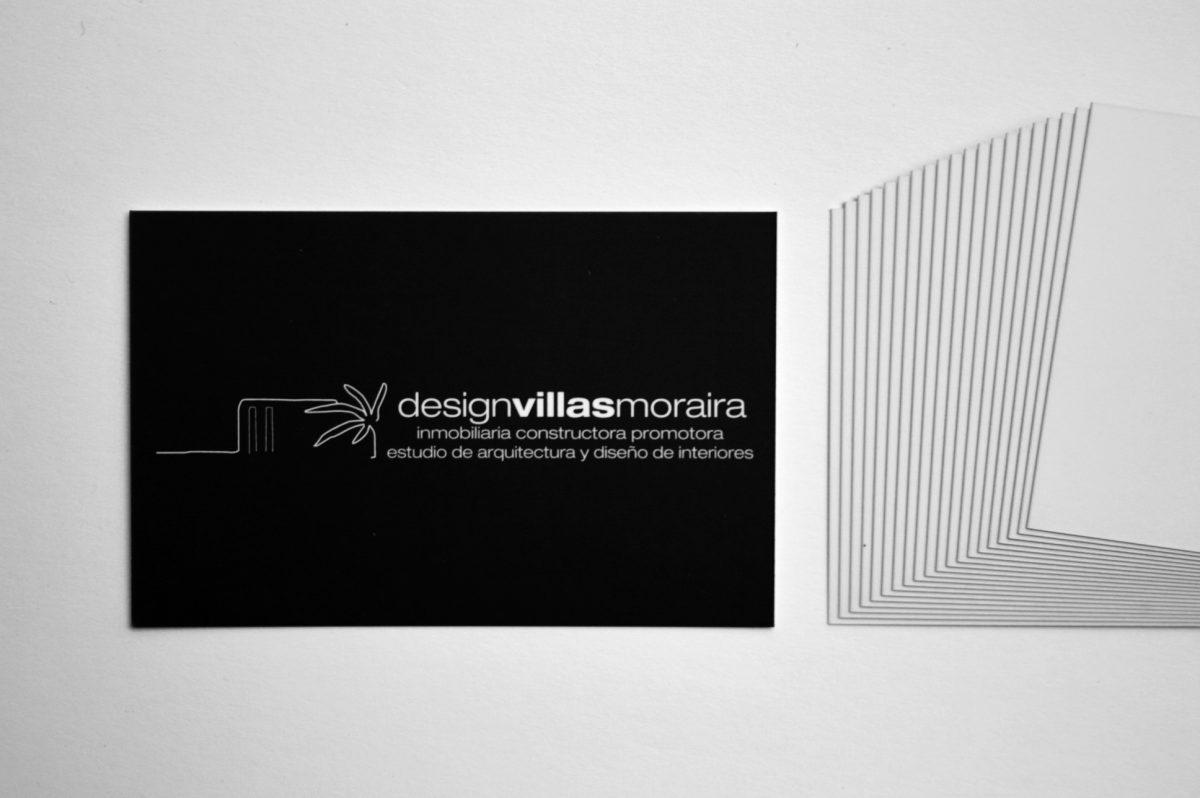 Design Villas Moraira. Tarjetas. Impresión offset CMYK, papel estucado mate 350gr, plastificado mate 2 caras.