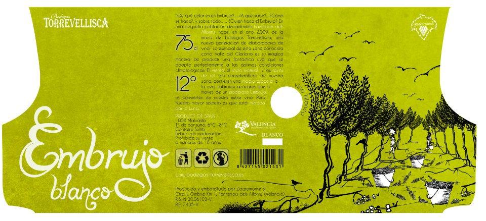 Diseño labeling vino blanco. Desplegable.