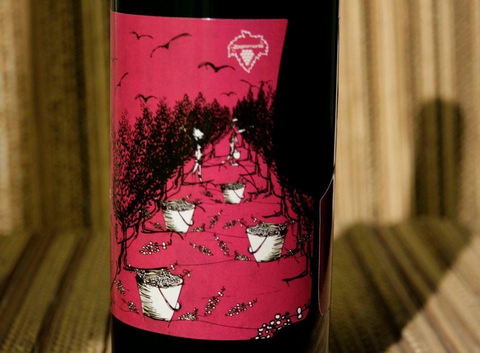 Detalle ilustración. Diseño labeling para vino tinto de las bodegas Torrevellisca-Zagromonte