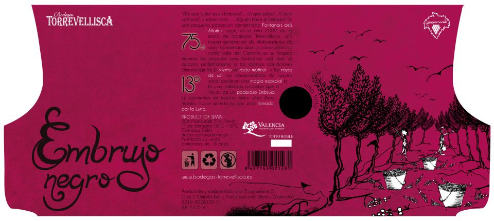 Diseño labeling vino tinto. Desplegable.