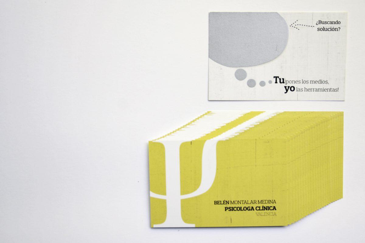 Tarjetas Belen Montalar Medina. Impresas en CMYK 4+4 + tinta rasclabe, sonbre papel estucado mate 350gr.