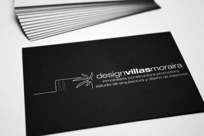Design Villas Moraira. Tarjetas Impresión offset CMYK, papel estucado mate 350gr, plastificado mate 2 caras.