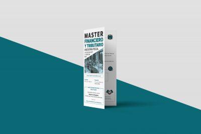 Branding. diseño gráfico díptico master tributario archicercle corte laser