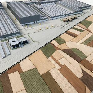 maqueta porcelanosa fabrica y complejo industrial. Realizada por archicercle para la XVI muestra de diseño internacional de arquitectura
